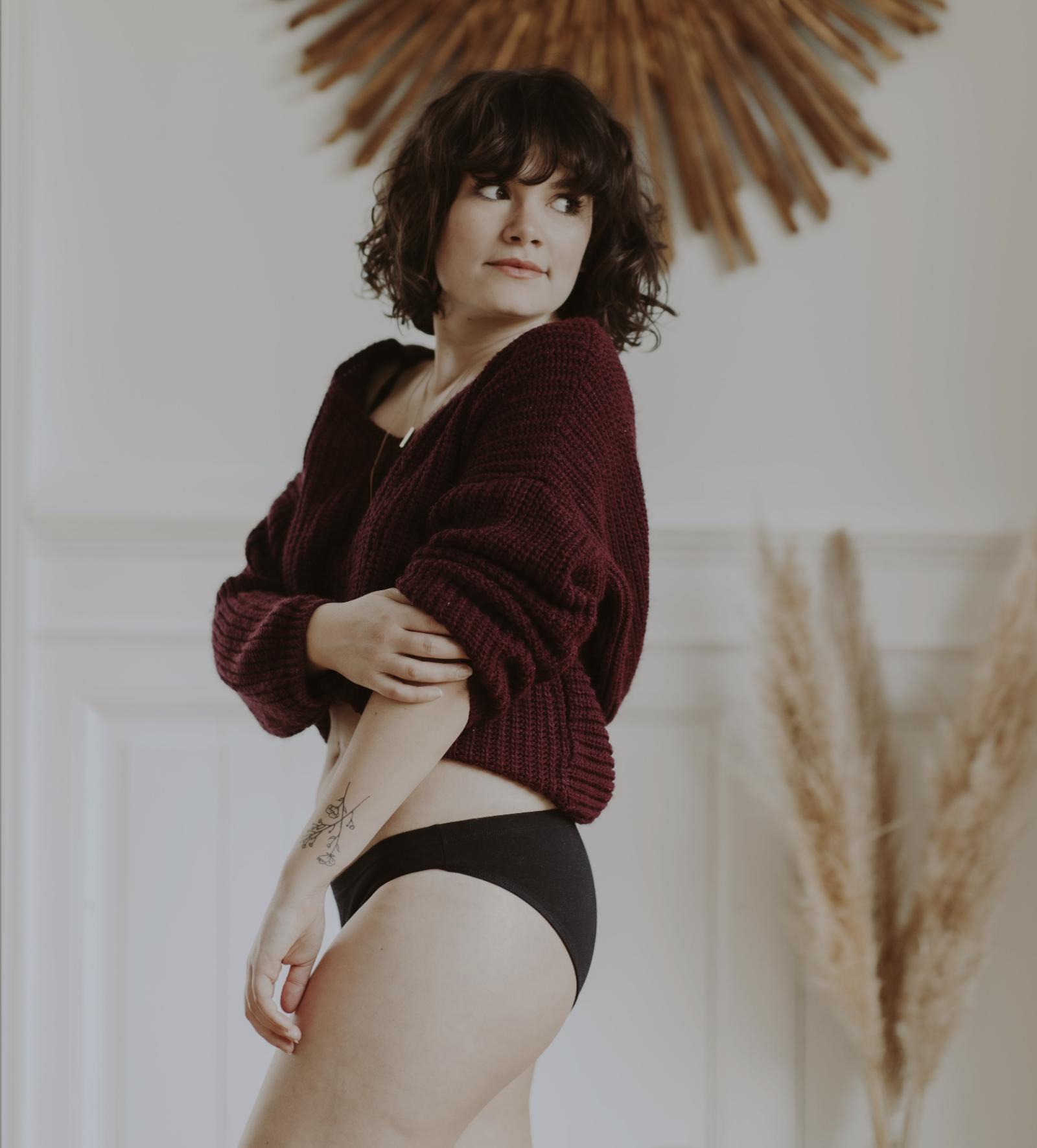 Culotte noire madame porte la culotte coton bio
