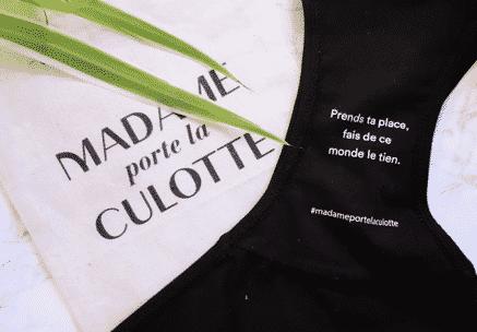 Culotte noire Madame porte la culotte créer pour la journée pour l'élimination des violences faites aux femmes